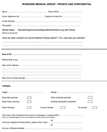 Registration Form (New Patient Health & Lifestyle Questionnaire)